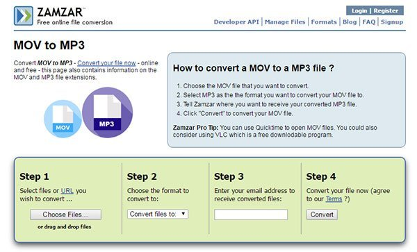 convert mov to mp3 with zamzar