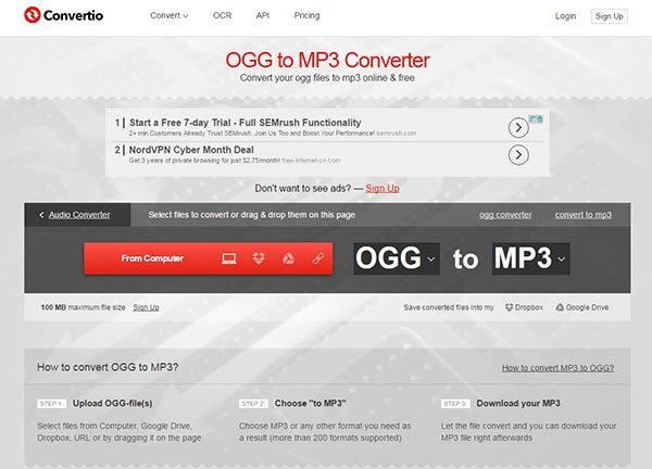 converteer ogg naar mp3 via convertio