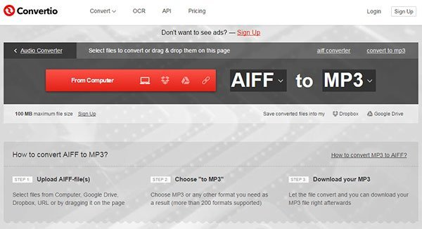 Convert AIFF to MP3 with Convertio