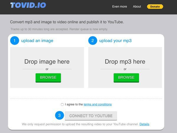 Upload MP3 to YouTube Tovid.io