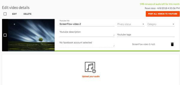 Upload MP3 to YouTube