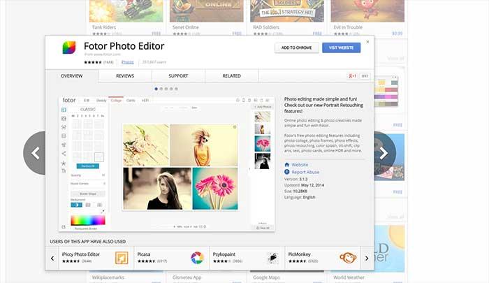 Trình chỉnh sửa ảnh Fotor Chrome