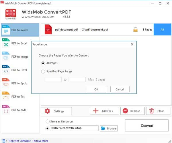 Adjust PDF Page Range