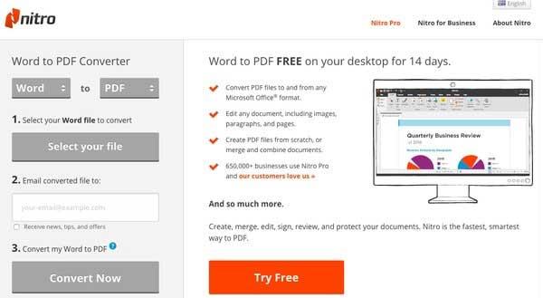 Nitro在線Word轉換為PDF