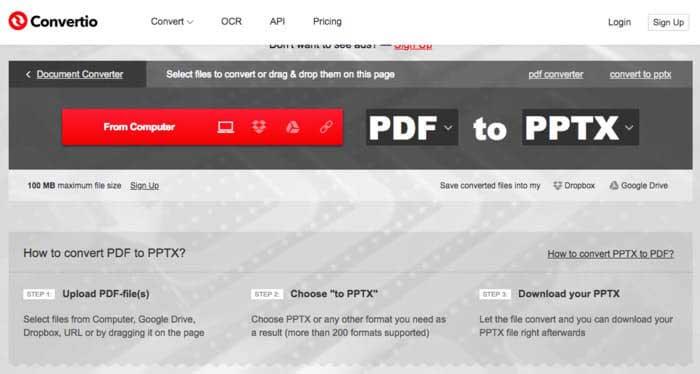 Convertio PDF'den PPTX'e Dönüştürücü