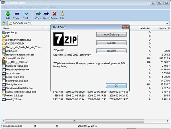 Capture d'écran 7-Zip