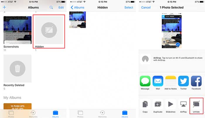 Access Hidden Photos on iPhone