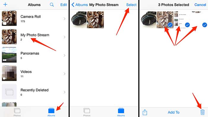 Delete Photo Stream from iPhone