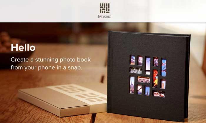 Livro de fotos em mosaico