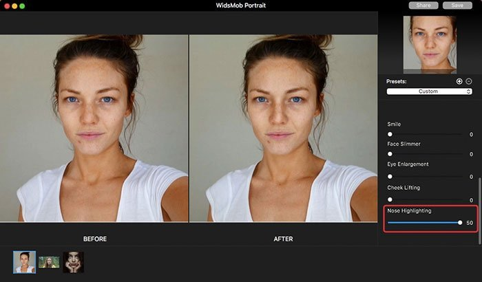 Nose Highlighting on Portrait