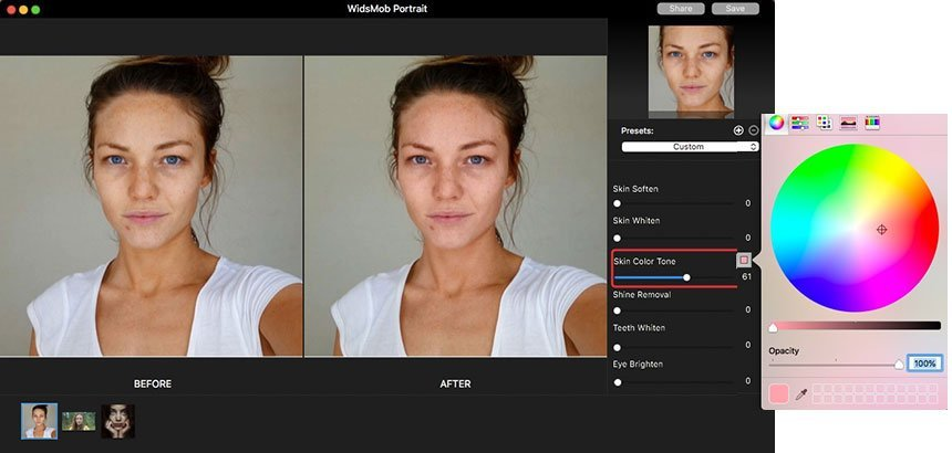 Skin Color Tone on Portrait