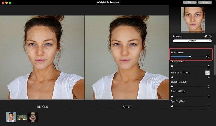 Suavizar pele no retrato