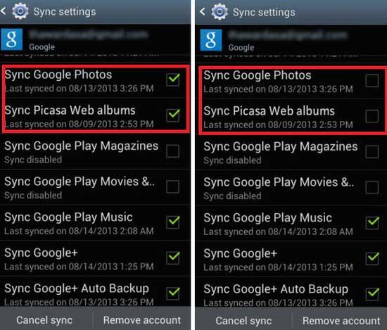 Picasa Web albümlerini eşitle seçeneğinin işaretini kaldırın