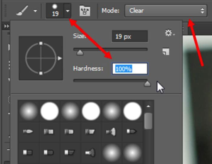 Adjust Brush Mode and Hardness Settings