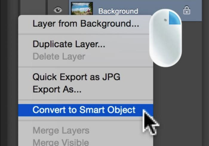 Stel in op Converteren naar slim object in Photoshop