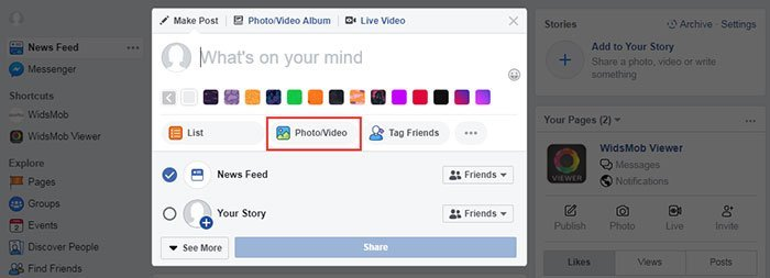 Post Photo Facebook Timeline