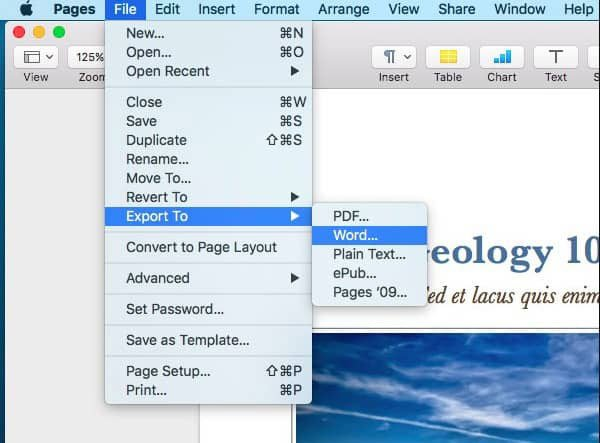 Convert Pages to Word on Mac