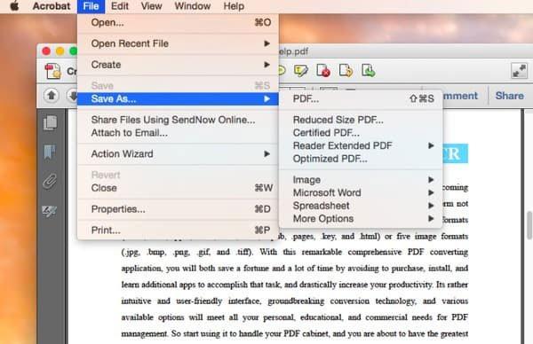 Converter PDF para Word por Adobe Acrobat