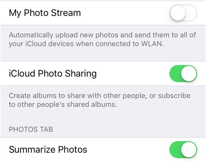 Отключить фотопоток iCloud