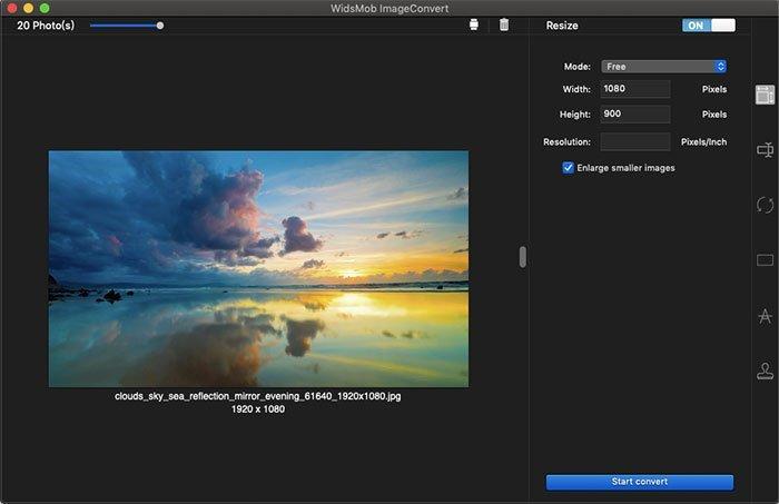 Cambio de tamaño gratuito ImageConvert
