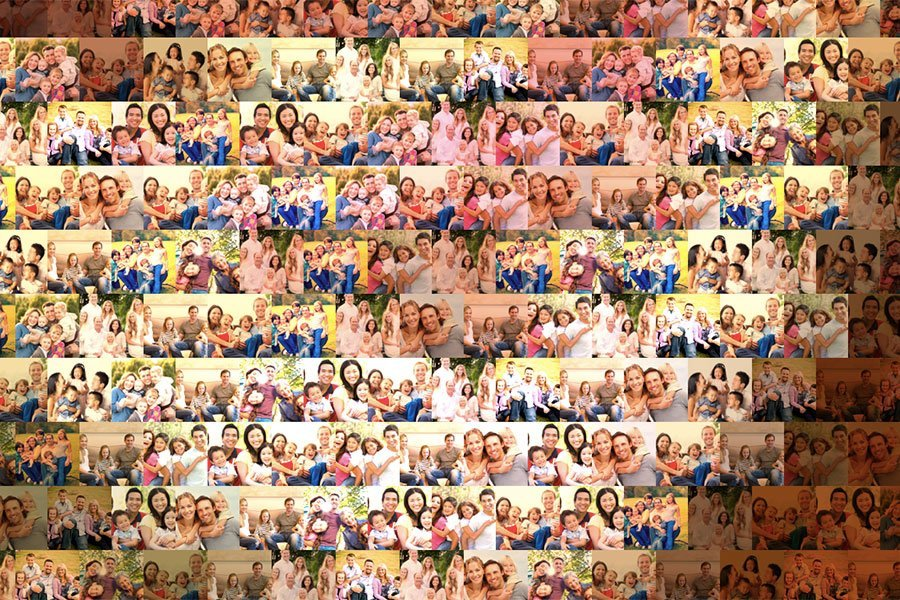 Happy Family Photo Mosaic Tile