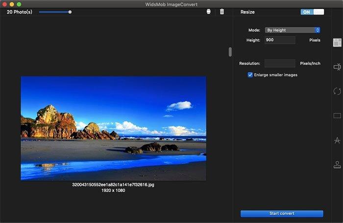 Thay đổi kích thước theo chiều cao ImageConvert