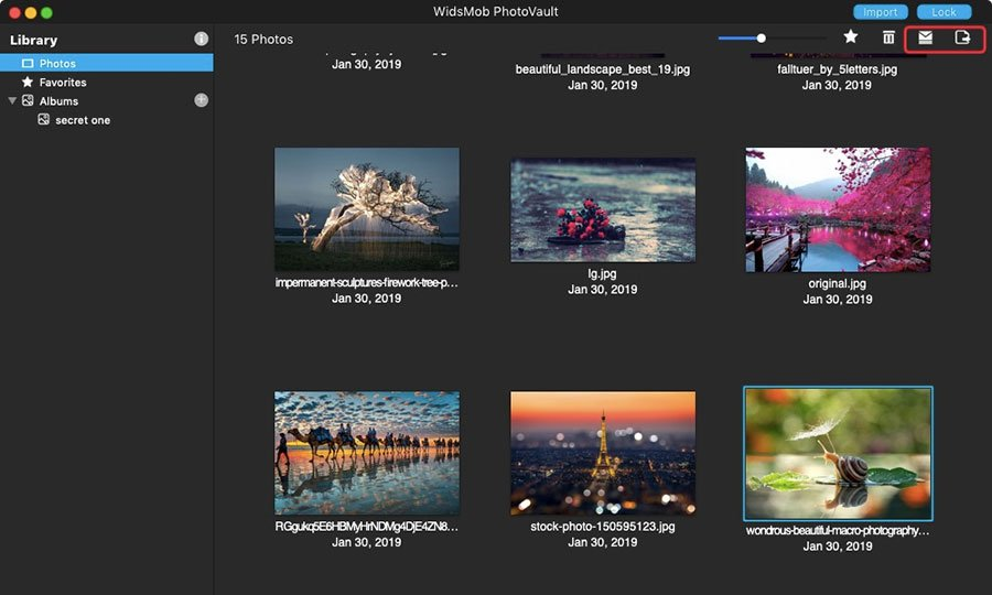 Export Photos on PhotoVault