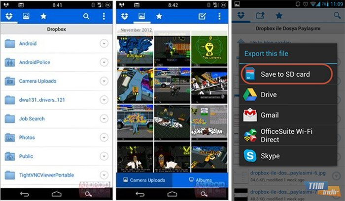Photos sur la carte SD Dropbox Android
