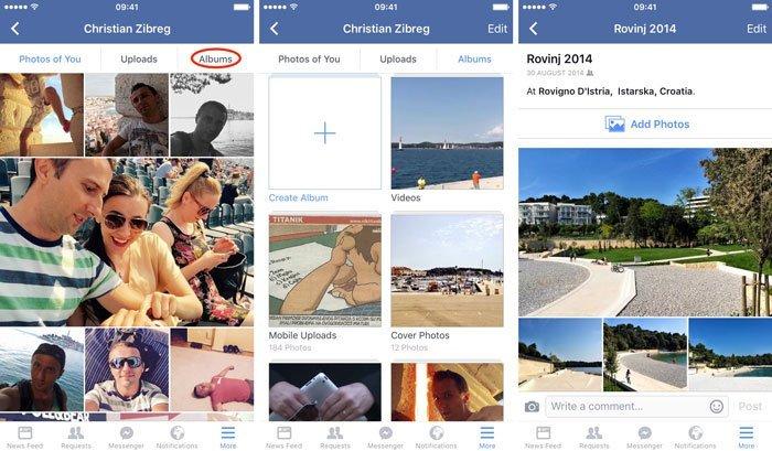 Gem Facebook-fotos på iPhone
