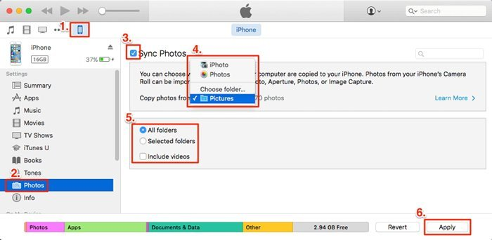 Transfer Photos to iPhone via iTunes