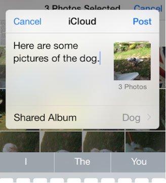 Partage d'album iPhone iCloud