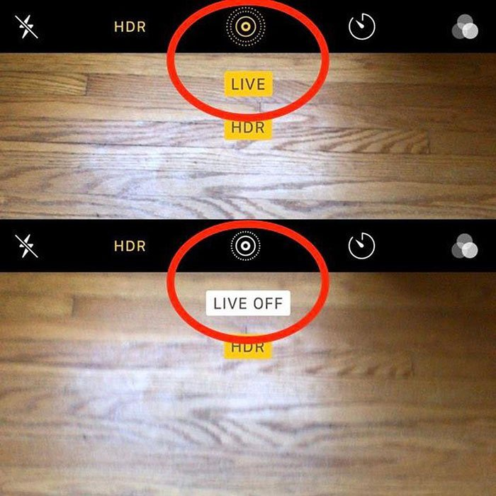 turn on or turn off Live Photos