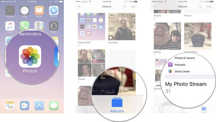 view Photo Streams on iPhone