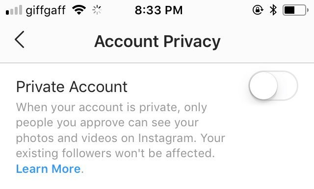 Instagram Privacy Setting
