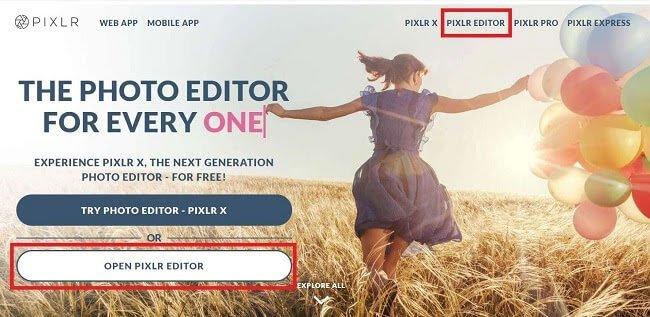Pixlr.comを開きます