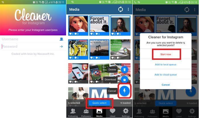 Slet Instagram-fotos med Cleaner til Instagram