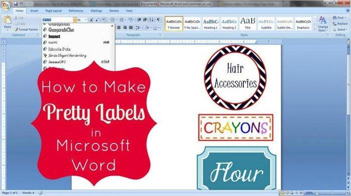 Fotoğraf Etiketi Word Microsoft