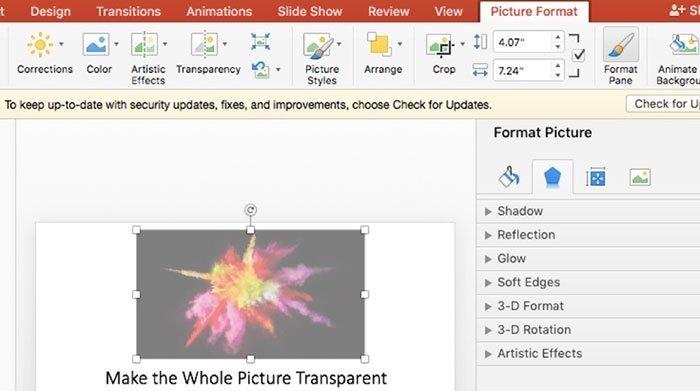 Formato de imagem em PowerPoint