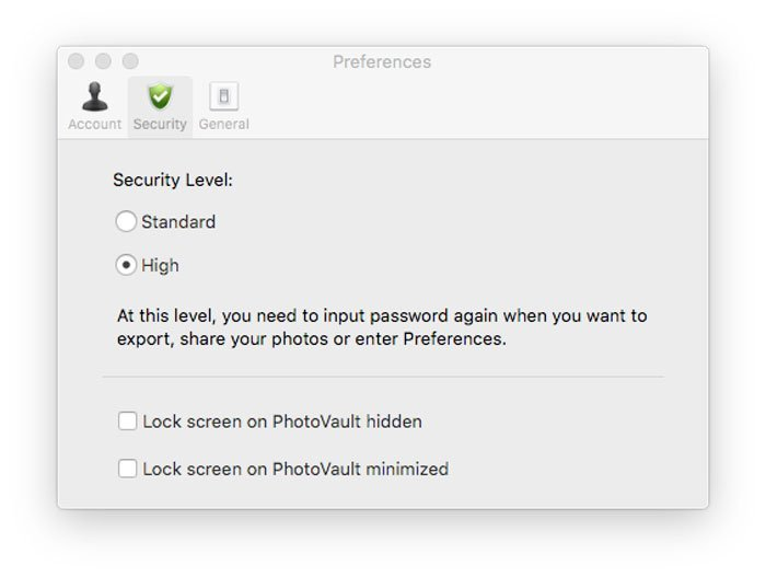 Security Level PhotoVault