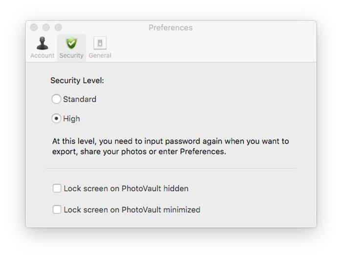 Sikkerhedsniveau PhotoVault