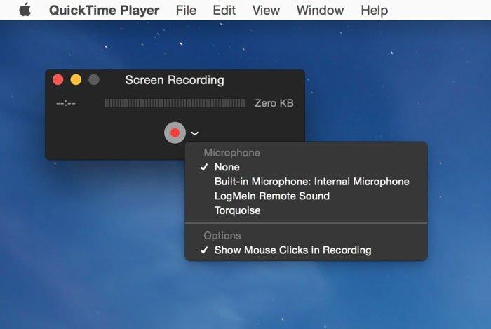 Registro QuickTime Player
