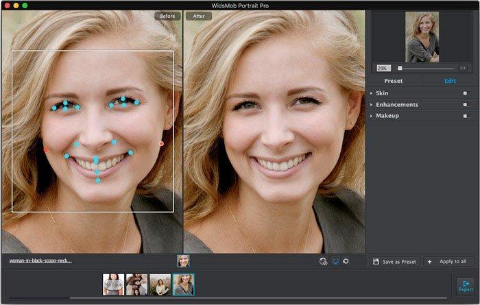 Ajustar Ponto Facial Portrait Pro