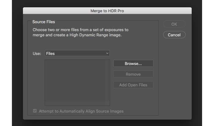 Photoshop HDR için Dosya Seçin