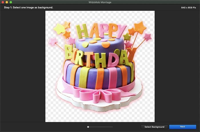 Importer un panorama de gâteau d'anniversaire