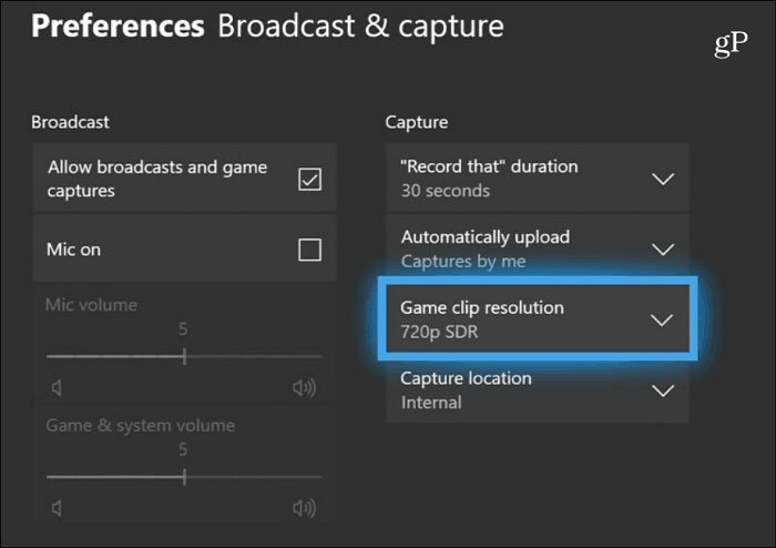 Game DVR Capture Settings