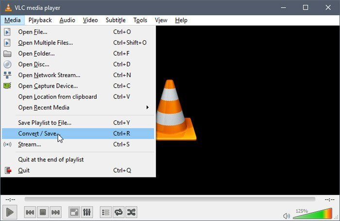 VLC Media Player Converter Áudio