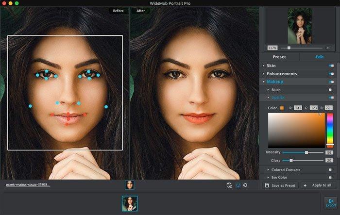 ضبط لون الشفاه باستخدام WidsMob Portrait Pro