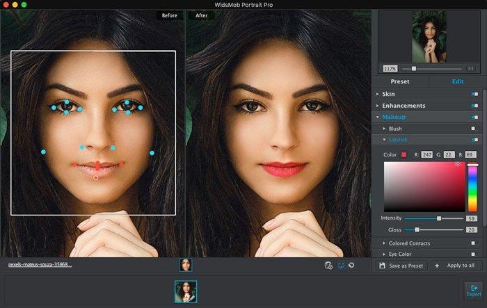 اضبط نقاط الشفاه الرئيسية باستخدام WidsMob Portrait Pro