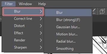 Aplicar efeito de desfoque no Clip Studio Paint