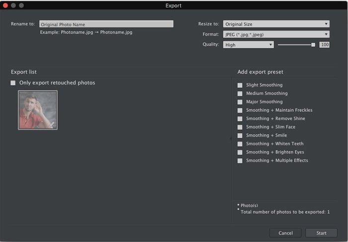 Exportieren Sie die aufgenommenen Fotos mit Portrait Pro auf einen Mac